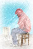Freezing man indoors — Stock Photo