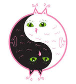 Cute owls yin yang — Stock Vector