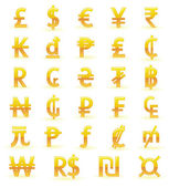 Currency symbols of the world — Stock Vector