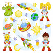 Cartoon outer space set — Stockvektor
