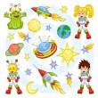 ストックベクタ: Cartoon outer space set