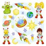 conjunto de espaço dos desenhos animados — Vetorial Stock