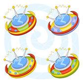 Cartoon flying saucers — Stock Vector