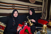 Arab Women sitting in a traditional tent — Stock Photo