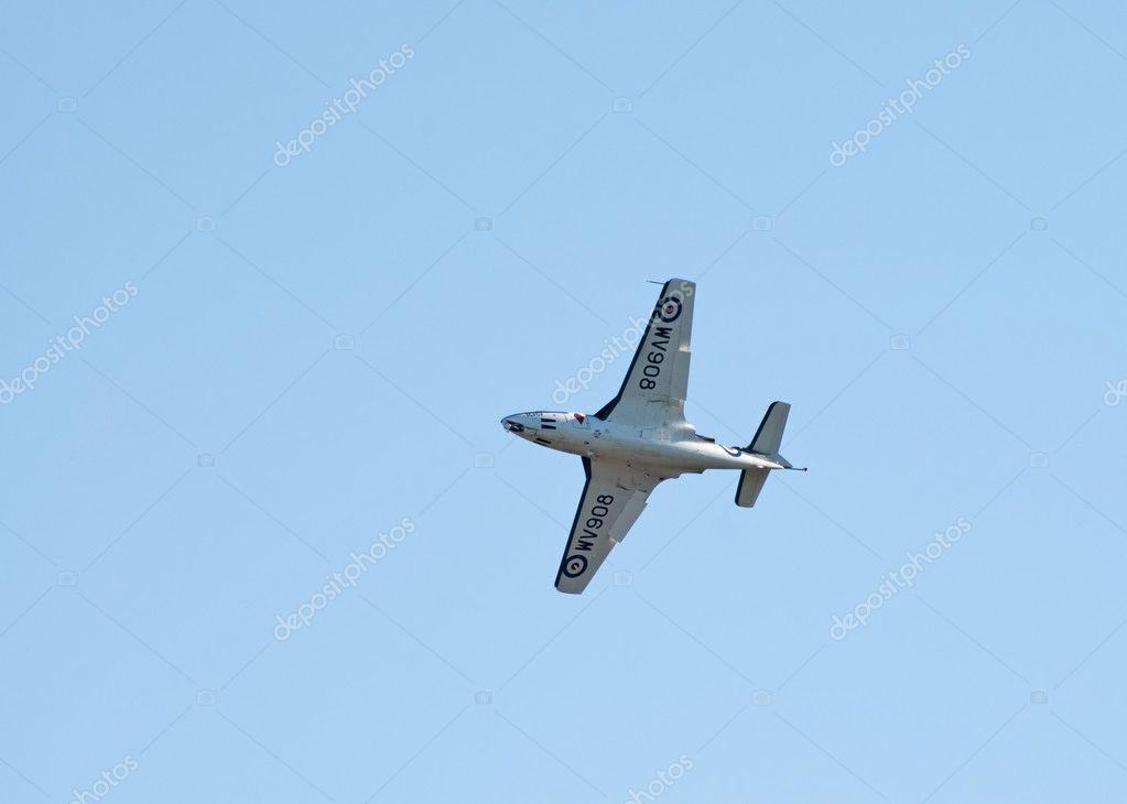 DUXFORD, UK - OCTOBER 10: Hawker Sea Hawk navy jet fighter flies during Autumn Air Show on October 10, 2010 in Duxford, UK  — Stock Photo #10211931