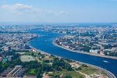 Birdseye view of Neva river — Stock Photo
