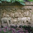 The bas-relief with the elephants. Thailand, Pattaya — Stock Photo