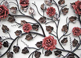 Wall decoration of metal flowers — Stock Photo