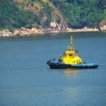 Tug boat navigating a beautiful blue ocean — Stock Photo #10343249