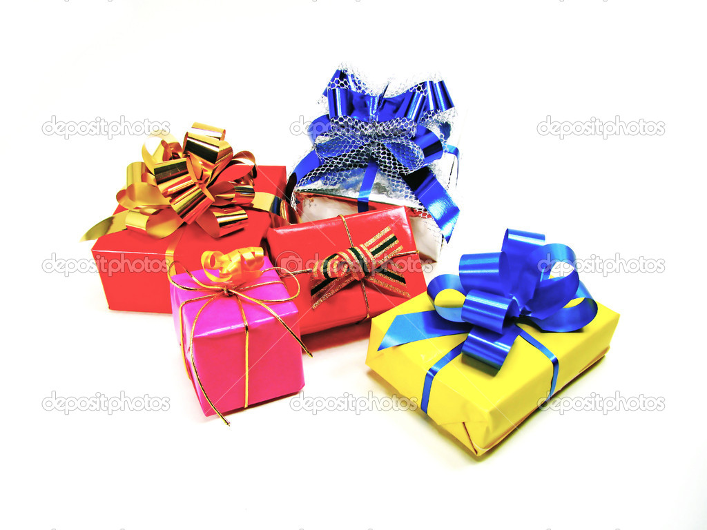 Colored gift boxes isolated on white background — Stock Photo #10343185