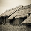 The old wooden houses with thatched roofs in the village — Stock Photo