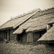 The old wooden houses with thatched roofs in the village — Stock Photo #9726980