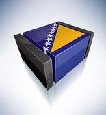 3d bandeira da bósnia e herzegovina — Foto Stock