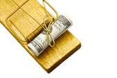 Gyllene råttfälla med rullade dollar bete — Stockfoto