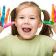 Cheerful girl with painted hands - Stock Photo