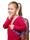 Portrait of a cute schoolgirl with backpack — Stock Photo