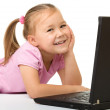 Little girl with laptop — Stock Photo #8370937