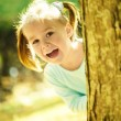Cute little girl is playing hide and seek — Stock Photo #9426105