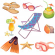 Summer vacation travel icon set — Stock Vector #10214719