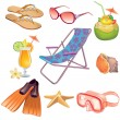 Summer vacation travel icon set — Stock Vector