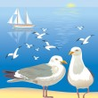 Seascape with seagulls — Stock Vector #10528771