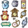 Watches and clock icons set — Stock Vector