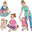 Stock Vector: Mothers and babies in their daily lives