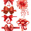 Red bows with hearts — Stock Vector