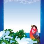 Christmas frame with bullfinch — Stock Vector #9254666