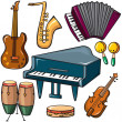 Stock Vector: Musical instruments icons set