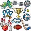 Stock Vector: Sports equipment icon set