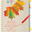 Autumn leaves in school notebook — Stock Vector #9254757