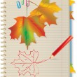 Autumn leaves in school notebook — Stock Vector