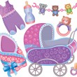 Royalty-Free Stock Imagen vectorial: Baby accessory cute Set