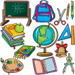 Stock Vector: School accessories icons set