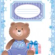 Stock Vector: Baby blue frame with little bear