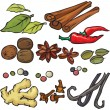 Spices icon set — Stock Vector