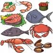 jeu d'icônes de fruits de mer — Vecteur