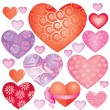 Pink hearts set — Stock Vector