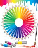 Spectrum van kleurpotloden — Stockvector