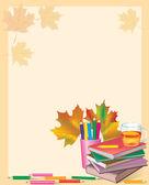 Autumn frame with school books — Stock Vector