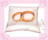 Wedding gold rings on satin pillow — Stock Vector