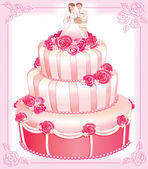 VECTOR wedding pink cake — Stock Vector