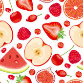 Seamless pattern of red fruits and berries — Vector de stock