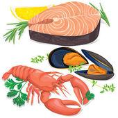 Fisch und meeresfrüchte — Stockvektor