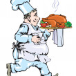 Chef carrying tray with chicken — Imagen vectorial