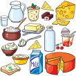 Dairy products icon set - Stock Vector