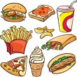 Fast food icon set — Stockvectorbeeld