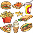 Stock Vector: Fast food icon set