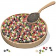 Mixed peppercorns on wooden plate and spoon — Stockvectorbeeld